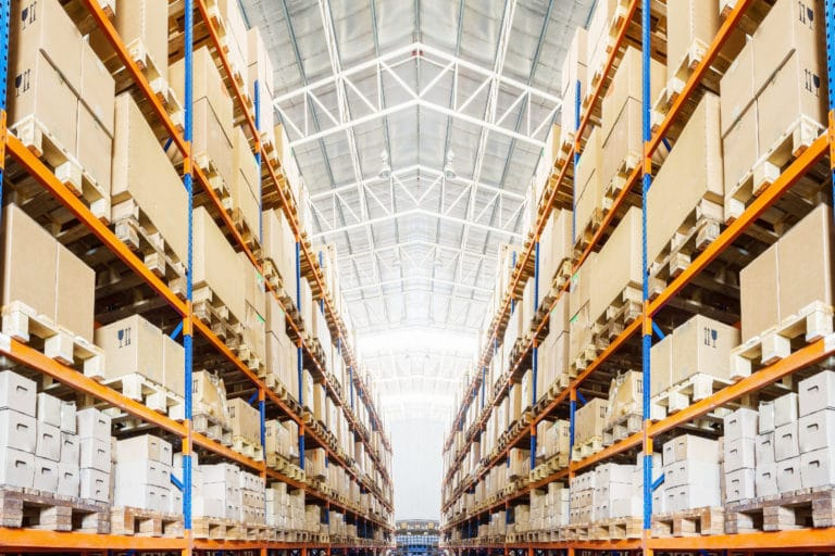 Warehouse stock image highlighting excess stock